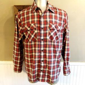 Men's Large Woolrich Button Down Red Plaid Shirt